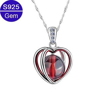 Red Trees Fine Jewelry Real 925 Sterling Silver Heart Necklace For Women With Garnet Pendant Best Gift For Lover/ Girlfriend