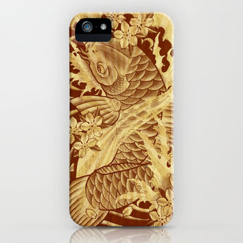 cool unique vintage japanese tattoo koi fish sun rays vector art iPhone & iPod Case by Chicelegantboutique