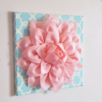 "MOTHERS DAY SALE Wall Flower -Light Pink Dahlia on Blue Tarika 12 x12"" Canvas Wall Art- Baby Nursery Wall Decor-"