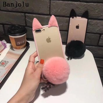 Banjolu Phone Case for iPhone X 6 6s Plus 7 8 Plus Luxury Rabbit Fur Ball Bunny Ear Cat Tail Back Cover Case