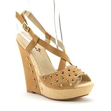 Women's BLW-08 Casual Studded Espadrilles Platform Wedges Strappy Sandals