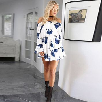 Bell Sleeved Floral Print Mini Dress 2 Colors