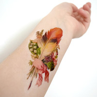 Vintage Feather temporary tattoo - Fall, Ribbon, Feather, Ink, Colourful, Tattoo, Woodland, Accessories
