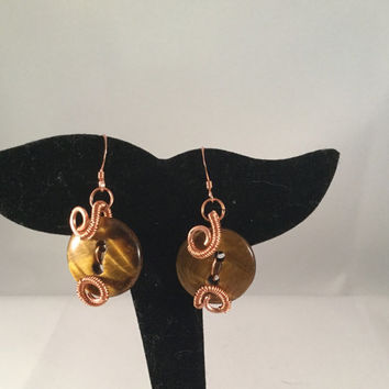 Tigereye button earrings, copper wire-wrap gemstone earrings, tiger eye hewelry, wire-work earrings, gift for her, under 20