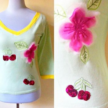 Spring Sale: pastel green pullover with cherries and cherry blossoms applique (small to medium), three quarter sleeved top