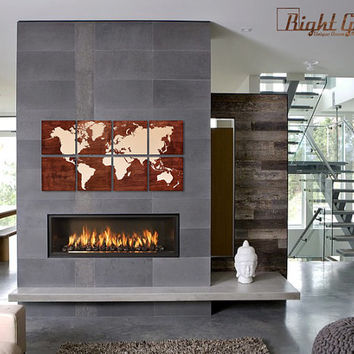 Large Wood World Map Print - XL Map Screen Print by RightGrain