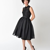 Unique Vintage 1950s Style Black Shimmer Organza Georgia Swing Dress