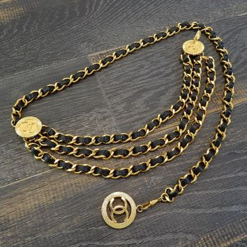CHANEL Gold Plated & Black Leather CC Logos Vintage Chain Belt #2785a Rise-on