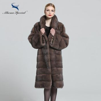 Athena Special 2018 New Style, Real Genuine Mink, Cappuccino Color, Women's Fur Coat, Classical Design, Mink Coat For Women