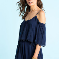 Embroidered Cold Shoulder Romper