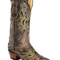 Ferrini Fabric Glitter Inlay Cross Distressed Cowgirl Boots - Snip Toe - Sheplers