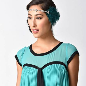 1920s Style Turquoise Feather & Silver Crystal Headband