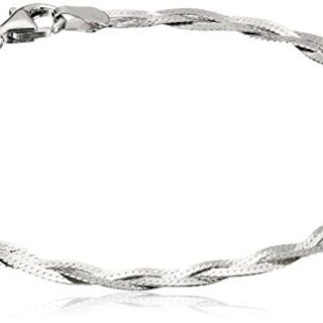 Italian Sterling Silver Three-Strand Braided Herringbone Chain Bracelet, 7.5""