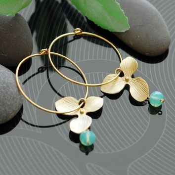 Aqua orchid hoop earrings in gold by joojooland on Etsy