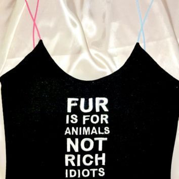 SWEET LORD O'MIGHTY! SAY NO TO FUR SKINNY TANK
