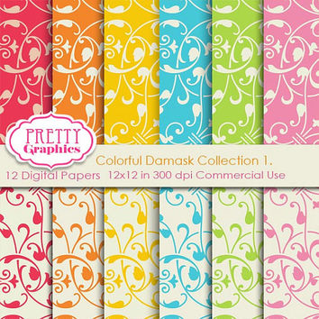 DAMASK PAPERS - Collection 1. - Printable Papers - Commercial Use - 12x12 JPG Files - Scrapbook Papers - High Quality 300 dpi