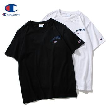 Champion x Supreme co-branded 2019 early spring new embroidery classic logo sports and leisure T-shirt
