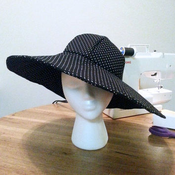 Derby Hat, Wide Brim Hat, Polka Dot Hat, Summer Hat, Woman's Hat, Ladies Hat