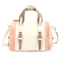 Tri-Toned Color Block Bowling Bag by Charlotte Russe - Ivory Combo