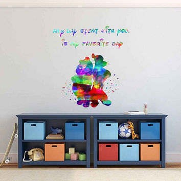 kcik1987 Full Color Wall decal Watercolor Character Disney Winnie the Pooh Tigger quote Sticker Disney children's room