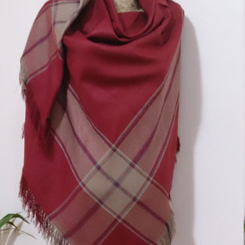 Cinnemon Plaid Blanket scarf, Plaid scarf, Winter fashion, blanket scarves, oversized, For Men, For Her, blanket,