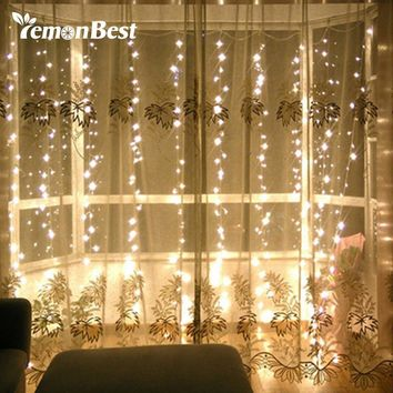 3*3m 300-LED Curtain Light Fairy Christmas Decorations for Home Party Wedding Outdoor Indoor String Lamp with Pendant Warm White