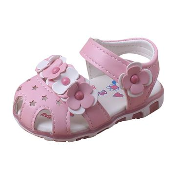 Baby Girl Sandals with Anti-slip, Soft Sol with Led light summer shoes girls