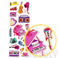Kawaii Musical Instruments Piano Harp Guitar Shaped Music Themed Puffy Stickers for Kids
