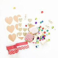 Gift wrap kit in Red/ packaging kit / diy kit / washi tape with baker twine and gift tags /