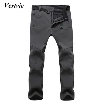 VERTVIE Autumn Hot Sales Mens Waterproof Pants Casual Winter Thick Warm Fleece Trousers Male Windbreaker Sweatpants Tactical