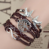 2016 New Infinity Love Leather Love Owl Leaf Charm Handmade Bracelet Bangles Jewelry Friendship Gift Items 2pac/lot