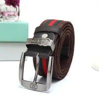 """Gucci"" Unisex Fashion Personality Classic Multicolor Stripe Double G Logo Letter Needle Buckle Canvas Waistband Belt"