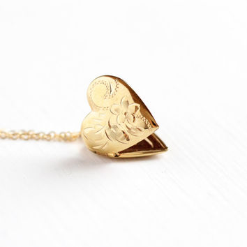Vintage 14k Rosy Yellow Gold Filled Heart Locket Necklace - 1960s 1970s Retro Flower Love Pendant Children's Dainty Charm Pendant Jewelry