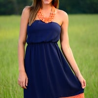Beauti-full Back Dress, Navy/Orange