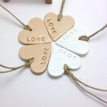 Heart Tags, Polymer Clay Hearts, Favours for Weddings or Any Special Occassion, Gift Wrapping Tags, Hand Stamped, Christmas Ornaments