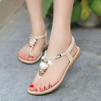 ac ICIK83Q Design Stylish Summer Bohemia Owl Plus Size Shoes Sandals [9257016908]