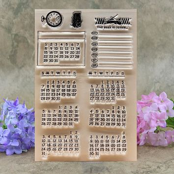 Calendar Weekly in Review Scrapbook DIY photo cards account rubber stamp clear stamp transparent stamp 10*15CM