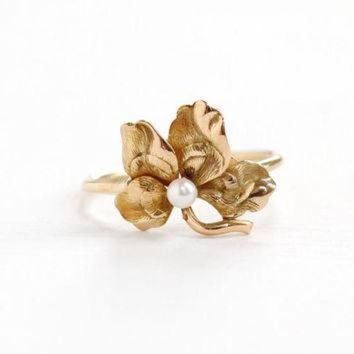 ICIKHD9 Antique Art Nouveau 14k Rose Gold Flower & Seed Pearl Ring- Vintage 1900s Victorian Ed