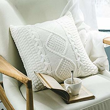 ANDUUNI Decorative Cotton Knitted Pillow Case Cushion Cover Double-Cable Knitting Patterns Soft Warm Throw Pillow Covers (Cover Only, White)