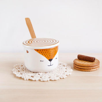 Fox ceramic sugar bowl with lid and spoon - Pottery sugar bowl - Sugar set - Ceramics & pottery - Kawaii ceramic - Fox gift - Ceramic Clay