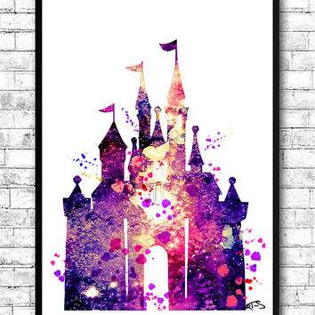BUY Any 2, GET 1 FREE! Disney Castle Watercolor Print,Disney painting,Disney Castle print,Nursery art,Giclee wall print,Children's birthday