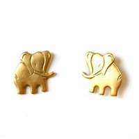 Plated Gold Brass Earrings with Golden Elephants by Tilly Doro