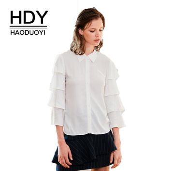 Solid White Sweet Sexy Shirt Women Hollow Out Lace Back Butterfly Sleeve Patchwork Blouses Female Buttons Tops Lady