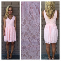 Pink Floral Lace Cheryl Babydoll Dress
