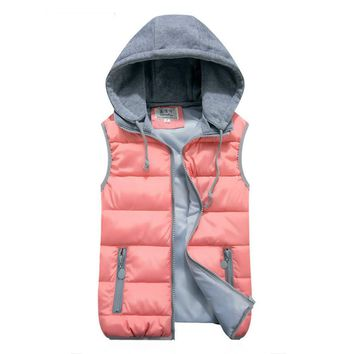 Tengo New fashion Women Vest Waistcoat Jacket Autumn and Winter Detachable Hood Vest Slim Hooded Cotton Vest Female Down