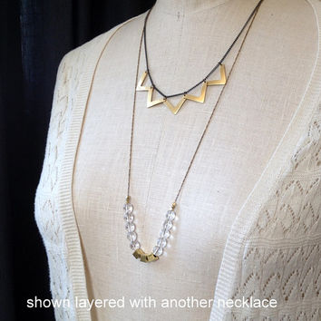 long vintage chain necklace with clear glass and gold square beads // geometric necklace // layering necklace // long beaded necklace