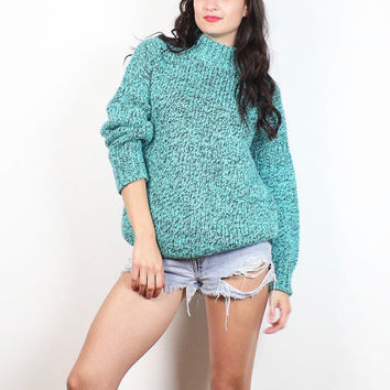 Vintage 1980s Teal Blue Gray Heather Knit Pocket Slouchy New Wave Chunky Knit Jumper 80s Pullover Hipster Boyfriend Sweater M Medium L Large