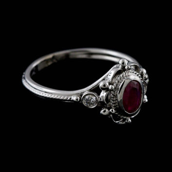 Victorian Style Reproduction Diamond Oval Ruby Engagement Ring 14k Gold