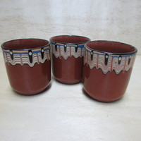 Set of 3 Handmade Ceramic Cups. The Beauty of Ceramics from Troyan Bulgaria. Cups wine. The Vintage Cups. Gift idea.