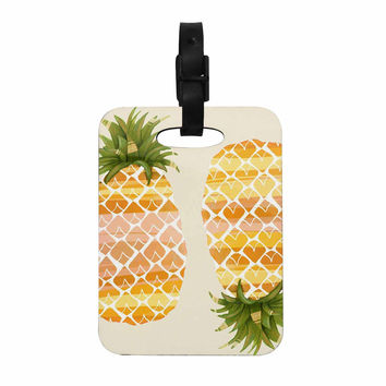 "Judith Loske ""Happy Pineapples "" Yellow Gold Decorative Luggage Tag"